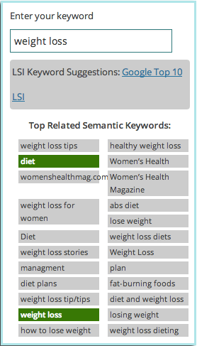 Seamless SEO has a built-in LSI keyword finder