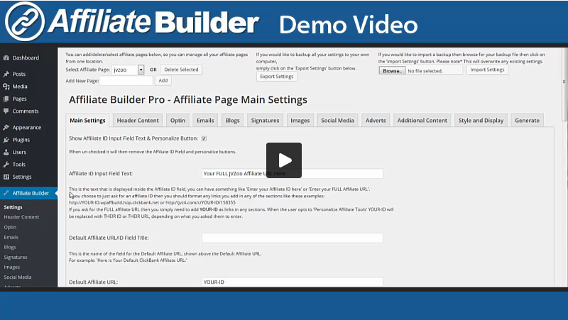 wp affiliate builder demonstration