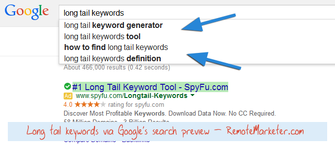 Example: Finding long tail keywords with Google search preview
