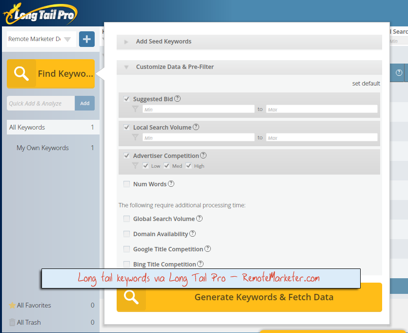 Finding keywords with Long Tail Pro